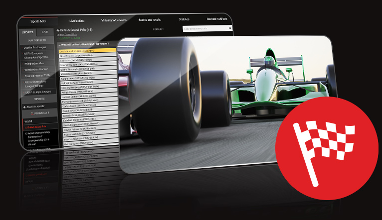 Mobile phone with an online F1 betting screen