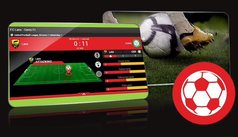 Mobile phone with an online football betting screen