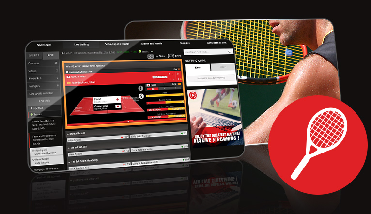 Tablet with an online tennis betting screen