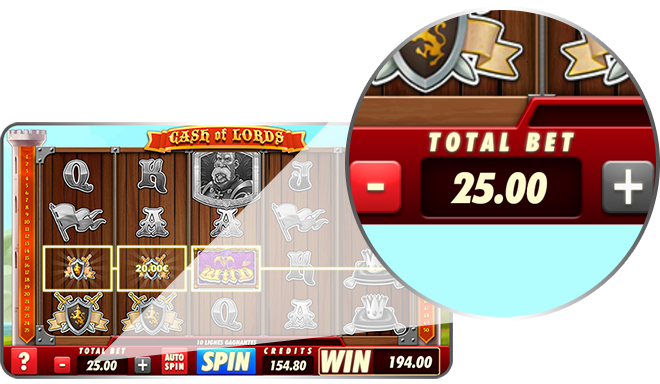 Total bet in a slot machine game